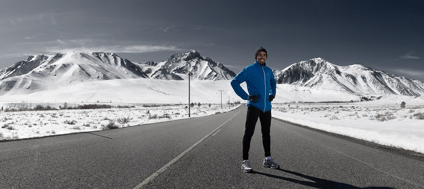 Meb Keflezighi male olympic runner on the road posing