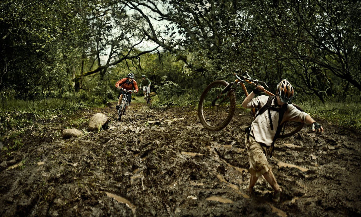 mountain bikers in the jungle