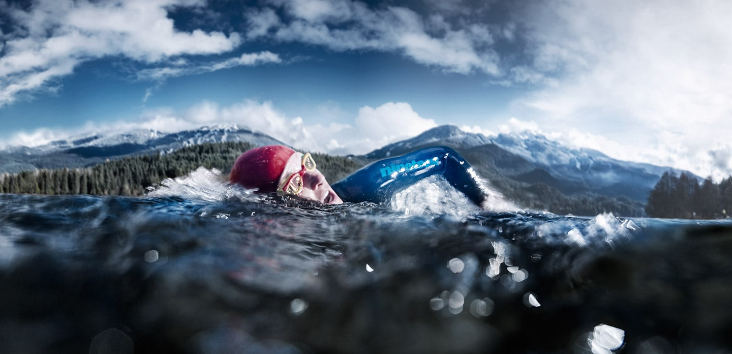 Athletic Swimmer Lake Swimming Apparel Background Mountain Blue Skies
