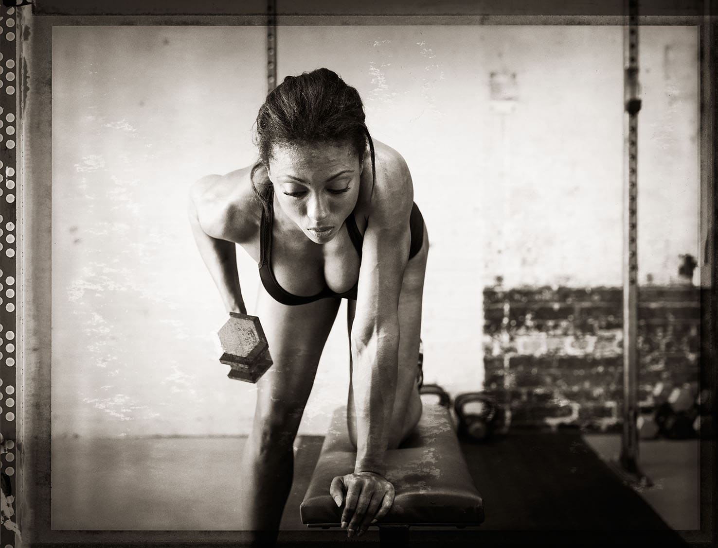 Black and White Front Image Athlete Nicole Harris Lifting Weights Two Piece Workout Apparel Chanel