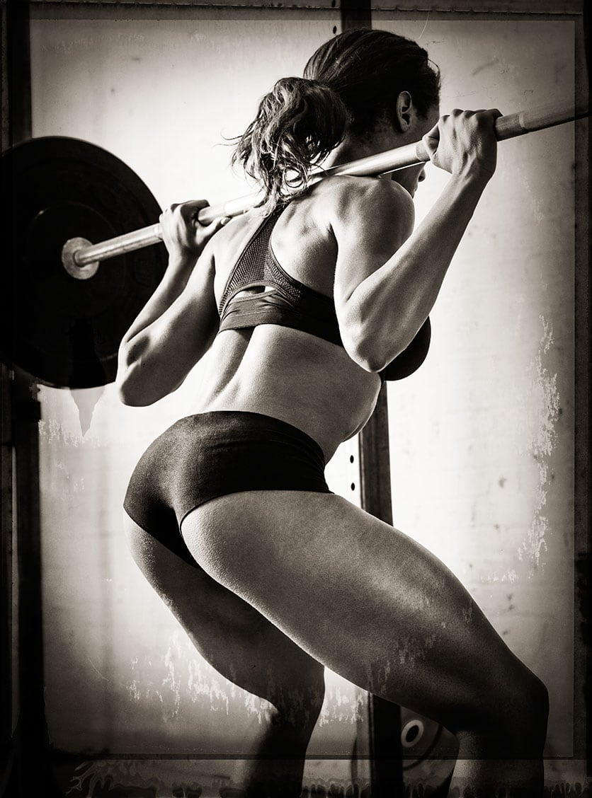 Black and White Image Behind Athlete Nicole Harris Weight Lifting Two Piece Workout Apparel Chanel