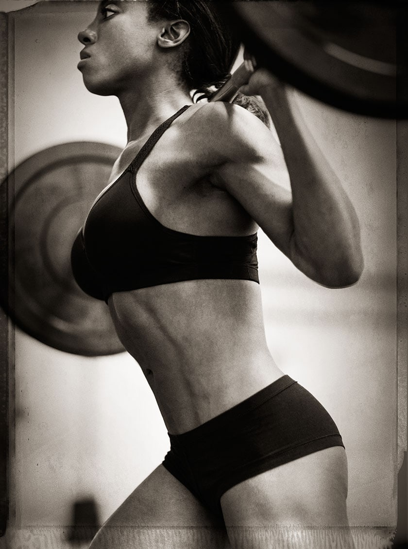 Black and White Profile Image Athlete Nicole Harris in Bikini Two Piece Doing Squats Chanel