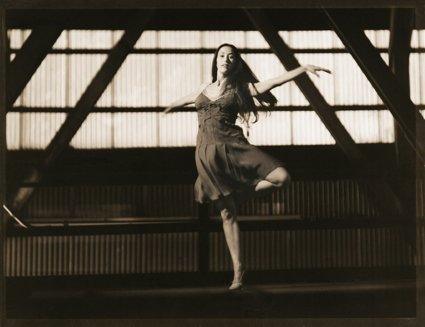 Black and White Sepia Ballet Dancer Mid Pirouette