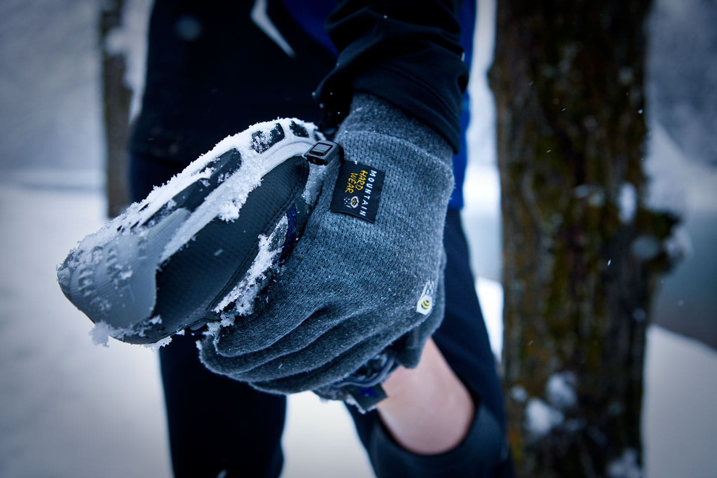 Image of Leg Stretch Close Up Perspective of Hand Athletic Mountain Hard Wear Glove