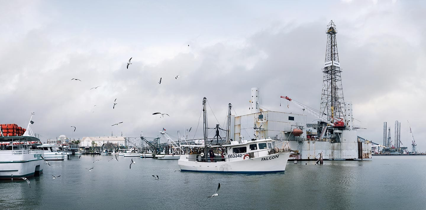 Shrimp Boats Docked on Water on Cloudy Day