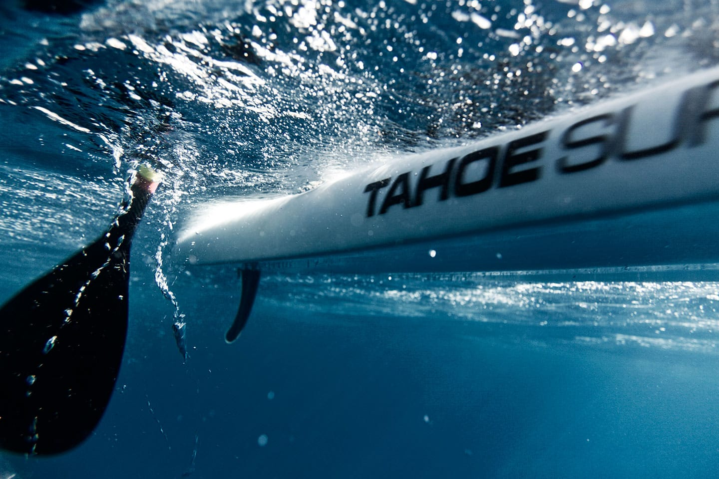 Underwater Image Surf Kayak and Paddle Waves Above