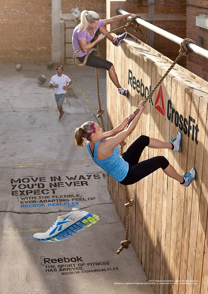 Wall Rope Climb Athletic Crossfit Workout Women Reebok Apparel Advertisement Vertical