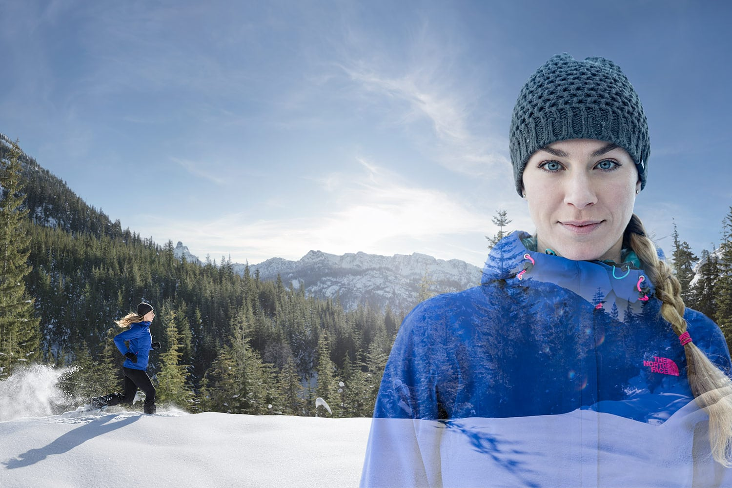 Athletic-lifestyle-Female-Double-exposure-Portrai-Snowshoe-Running-in-the-Mountains-Rod-McLean