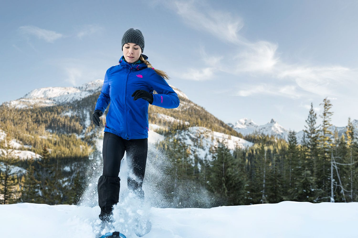 Athletic-lifestyle-female-Snowshoe-Running-in-the-Mountains-Rod-McLean