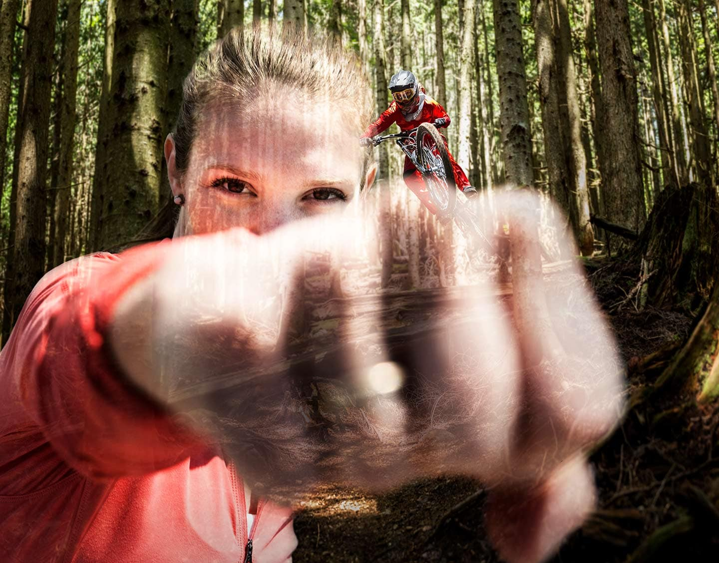 Double Exposure Portrait of Professional Downhill Mountain Biker  Vaea Verbeeck Jumping in the woods Photographer Rod McLean