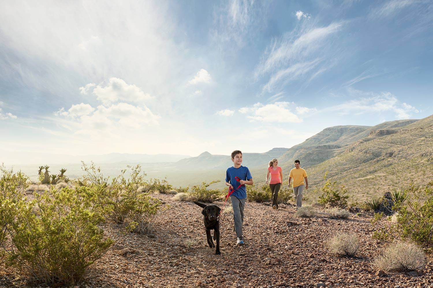 boy-with-Dog-and-parent-hiking-at-sun-set-Rod-McLean